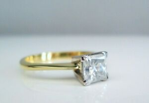 18ct Yellow Gold .75ct Princess Cut Diamond Solitaire Engagement Ring GIA M 1/2