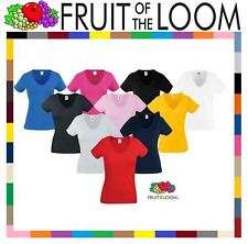 Fruit Of The Loom LADIES T-SHIRT V-NECK LADY FIT COTTON LYCRA TOP TEE XS - 2XL