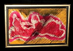 """1960s Hawaii Modern Abstract Batik """"Winter in Paris"""" by Jerome Wallace (CWo)"""