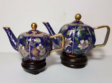 2 ORIENTAL CHINESE MINIATURE CLOISONNE TEAPOTS ON WOODEN STANDS