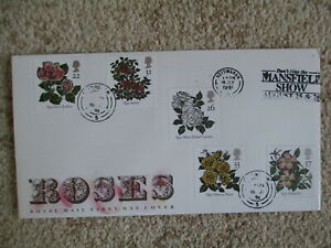 1991 ROSES GPO FIRST DAY COVER, LISTED MANSFIELD SHOW SLOGAN PMK