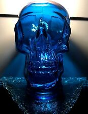 COBALT BLUE GLASS Skull ~ Life Size ~ Handmade in Spain from Recycled Glass