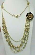 Brushed Gold Tone Rose NECKLACE Beaded Chain Layers Removable Strands EUC