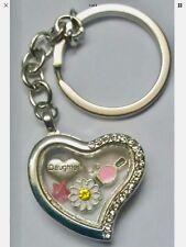 DAUGHTER HEART Flower Nail Varnish Floating Memory Locket Charm Keyring GIFT BOX