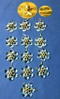 Pre-1970 Chandelier Star Pattern Crystal Glass & Metal Hardware Lot of (13)