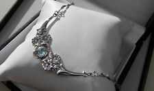 Fab! 925 sterling silver full HM Rennie Mackintosh style blue topaz necklace