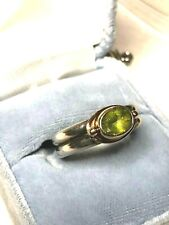 CCQ Solid 14K Yellow Gold & Sterling Silver Peridot Ring, size 8.5, 7.5g