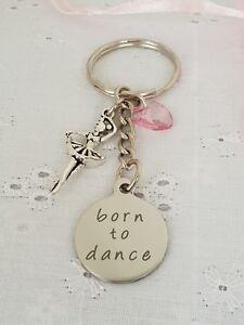 Born To Dance Ballet Dancer Tutu Keyring Bag Charm With Gift Bag Ballerina