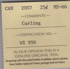 2007 Canada CURLING Twenty-Five Cents Coin. Quarter. ICCS MS-66