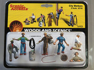WOODLAND SCENICS O SCALE CITY MAINTENANCE WORKERS figure people men WDS2742 NEW