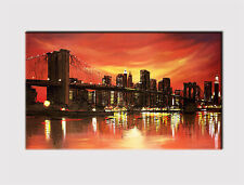 NEW X LARGE CANVAS 18''x32'' WALL ART  CITY SKYLINE NEW YORK PRINT PICTURE 398