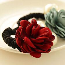 Women Satin Ribbon Rose Flower Pearls Hairband Ponytail Holder Hair Band Beauty