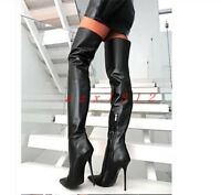 Women Pointy Toe High Stiletto Heel Thigh Boot Shoe Zip Leather Party Sexy New