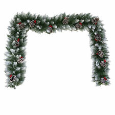 Christmas Artificial Spruce Garland 6ft - Snowy Pine Cone and Berry