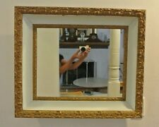 Vintage Ornate Resin and Wood Gold and White  Glass Wall Mirror