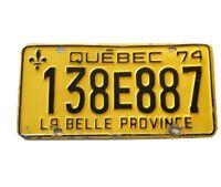 Vintage Car Quebec Licence Plate 1974