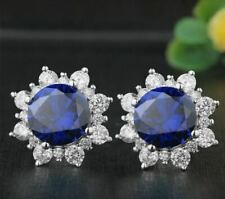 4.20Ct Round Cut Blue Sapphire Diamond Halo Stud Earrings 14K White Gold Finish