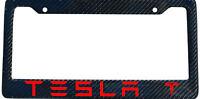 Tesla Brand Script Carbon Fiber License Plate Frame - Color Selection