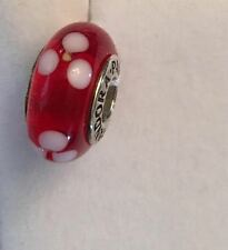 Pandora sterling silver Red and White Flowers Murano Glass Bead