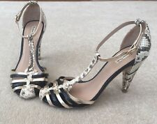 Massimo Dutti Shoes Gold Black Snake Leather Strappy Heels UK 4 EU37 cage toe P5