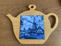 Vtg Teapot Shaped Trivet by Ter Steege Blue & White Windmill Handcrafted Holland