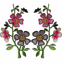 Pair of Pink Grey Flower Patches Iron On Sew On Flowers Embroidered Patch Badge