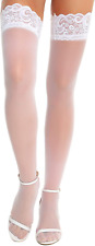 New listing RSLOVE Women Anti-skid Silicone Lace Silk Thigh High Stockings White