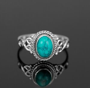 Oval Cut 925 Sterling Silver Ladies Turquoise Ring Gemstone Jewellery Gift Boxed