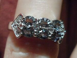 Super Rare Natural Tunduru Colour Change Sapphire & Topaz Silver Ring 1.45cts >^