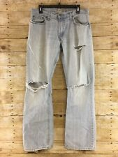 Levis 527 Jeans Mens 33x32 Slim Boot Distressed Destroyed Ripped Torn Light Wash