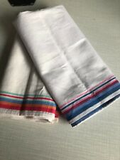 VIntage Woven Striped Multi Coloured Edged White Indian Cotton Tea Towels Prop