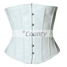 Underbust corset blanc cuir véritable pleine en acier baleiné spirale basque laçage shaper