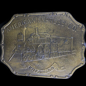 Colorado American Express Steam Engine Railroad Train 70s Vintage Belt Buckle