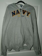 Champion Quality U.S. NAVY MILITARY GRAY ZIP-UP HOODIE PULLOVER UNISEX SIZE XXL