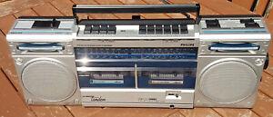 Philips D8334 TWIN Cassette Radio Boombox Vintage Ghetto Blaster Silver Vintage