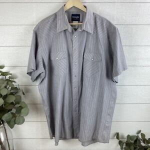 Wrangler Mens 2XLT S/S Pearl Snap Button Up Western Shirt Rancher plaid Purple