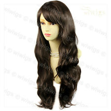 Wiwigs Beautiful Medium Brown Long Layered Way Skin Top Ladies Wig