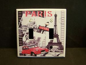 PARIS EIFFEL TOWER RED CAR  DESIGN 2  LIGHT SWITCH COVER PLATE OR OUTLET