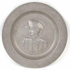 Antique Pewter Bowl Military Officer in Tricorne Hat signed Carl Reutlinger