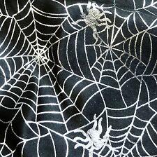 Black Satin Halloween Fabric Silver Foil Spider Webs PM