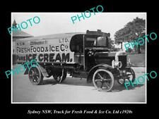 OLD LARGE HISTORIC PHOTO OF SYDNEY NSW, PURE ICE CREAM DELIVERY TRUCK c1920s