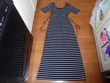 Motherhood Maternity black & white striped maxi dress with tie belt size S