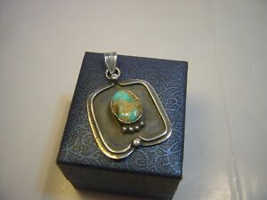 STUNNING SOLID SILVER VINTAGE ARTS & CRAFTS PENDENT-INCREDIBLE REAL TURQUOISE