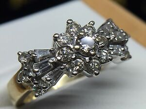 Diamond & Gold 1Ct Art Deco Cluster Ring