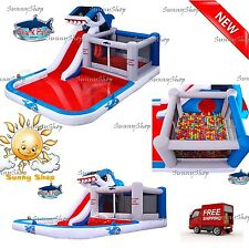 Inflatable Water Shark Park With Slide And Bounce Room Backyard Fun Kids Summer