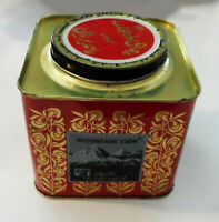 Vintage? Empty Mountain View Darjeeling Tea TIN Square BOX Gold Red Black, India