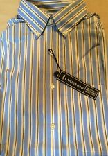 NWT MENS LANESBORO NO IRON BD SPORT DRESS SHIRT-WHITE W// RED//BL STRIPES-16 32//33