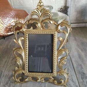 Gorgeous Antique Vintage Victorian Brass Cast Rococo Revival Photo Picture Frame