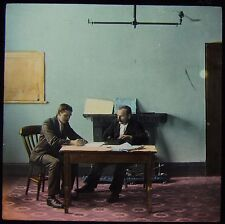 Glass Magic Lantern Slide MEN SEATED AT TABLE C1890 VICTORIAN TALE