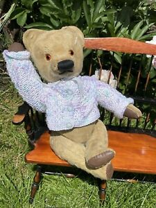 """💕 Freda   14"""" 1940s Chad Valley Bear - Old English Vintage Teddy in clothes"""